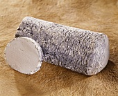 Le Joug, a French goat's cheese, on a brown background