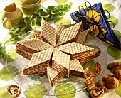 Waffle diamonds with nut mousse filling
