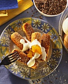 Buckwheat croquettes with cream and apricot jam