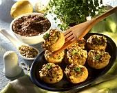 Stuffed mushrooms: cottage, cheese, linseed, sunflower seeds