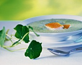 Veloute cress soup with fried wild salmon