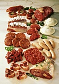 Various types of meat, mince and sausages