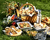 Picnic in a meadow with sandwiches, salad and cake