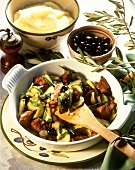Pan-fried poultry liver with courgettes, olives and sage