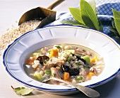 Pearl barley soup with prunes, vegetables and duck