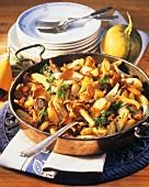 Kartoffelpfanne mit Pfifferlingen und Rinderfilet