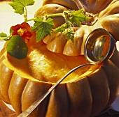 Pumpkin Cream Soup in Hollowed Out Pumpkin