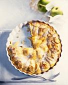 Apple pie, a piece cut, in pie dish