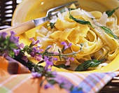 Ribbon noodles with sage butter and parmesan shavings