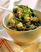 Green bean stew with lamb, potatoes and bacon