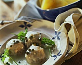 Königsberger meat balls with capers and parsley on plate