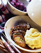 Beef roulades with mashed potato and red cabbage
