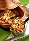 Vegetable casserole with sesame in Römertopf