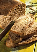 Spiced bread, a slice cut, with slices