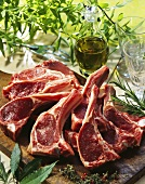 Lamb cutlets on a chopping board; olive oil