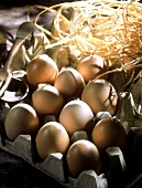 Brown eggs in an egg box with straw