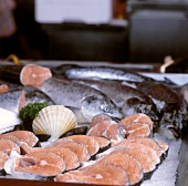 Fresh salmon and salmon cutlets at the market