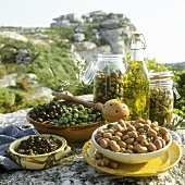 Olive still life on a rock