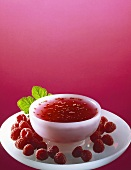 Cold soup with raspberries
