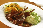 Lamb chops with apricots, mashed potato & vegetable strips