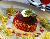 Turned-out tomato salsa with beetroot & herb yoghurt