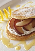 Lemon blini with ricotta and poached pears