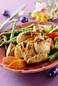 Caramelised roast chicken with orange zest & vegetables