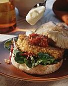 Tofu burger with tomato relish and mayonnaise