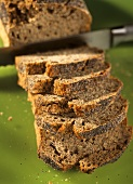 Poppy seed bread, partly sliced