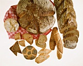 Various breads and rolls on checked tea towel