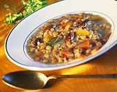 Barley soup with beans, carrots and chick peas