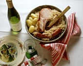 Alsatian meat platter with sauerkraut; White wine