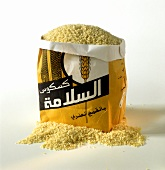 Couscous in a paper bag with Arabic writing