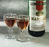 Marsala in two glasses and bottle