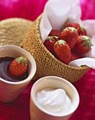 Fresh strawberries with chocolate & vanilla dip
