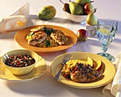Chicken breast with rice and bean and tomato salad; pears