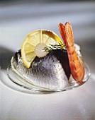 Herring & shrimp, garnished with silverskin onion & lemon