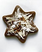 Star cake with chocolate and icing sugar