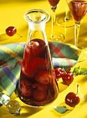Cherries in rum in a carafe