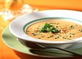 Kashmir soup with carrots, saffron and pine nuts