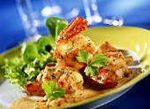 Jumbo prawns and crayfish with parsley in champagne sauce