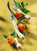 Spring onions, carved carrots and parsley
