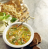 Vitamin soup: vegetable broth with noodles and sprouts
