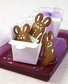 Gingerbread Easter bunny in a white box