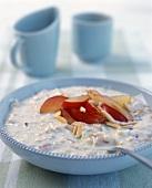 Bircher muesli with peaches and almonds