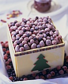 Christmas ice cream gateau with frozen berries