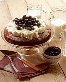 Blueberry cake with cream & icing sugar on cake plate