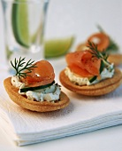 Puff pastry boat with cream cheese & smoked salmon