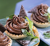 Chocolate tartlet with mint and icing sugar
