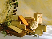 Various types of hard cheese on wooden board with grapes